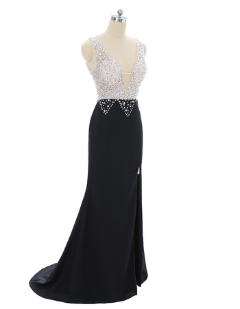 Seductive Low V-neckline Black Prom Evening Dresses with Sparkling Crystal Detailing