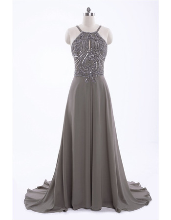 Seductive Backless Chiffon Prom Evening Dresses with Beaded Bodice