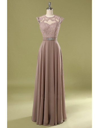 Elegance Appliques Round/Scoop Neckline Chiffon Prom Evening Dresses with Crystal Accents