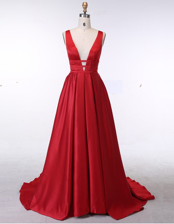Sexy Plunging V-neckline Red Satin Evening Dresses with Pleated Train