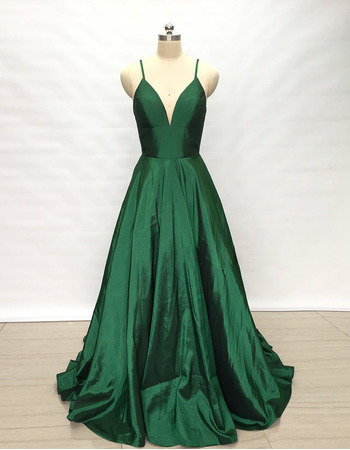 Sexy Slender Straps Taffeta Evening Dresses with Plunging V-neckline
