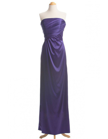 Simple Sheath Strapless Satin Evening Dresses with Asymmetrical Waistline