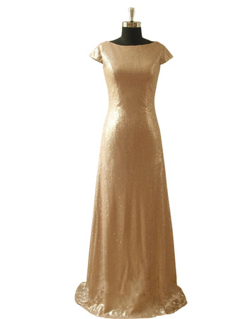 Shimmering Bateau Neckline Sequin Evening Dresses with Cap Sleeves