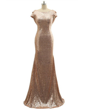 Plunging Scoop Back Sequin Evening Dresses with Cowl Neck