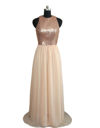 Shimmering Jewel Neckline Chiffon Evening Dresses with Sequin Bodice and Open Back