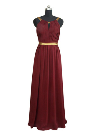 Simple Scoop Neckline Pleated Chiffon Evening Dresses with Keyhole