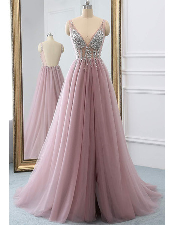 Sophisticated Beading Crystal Deep V-Neckline Tulle Evening Dresses with Split Front