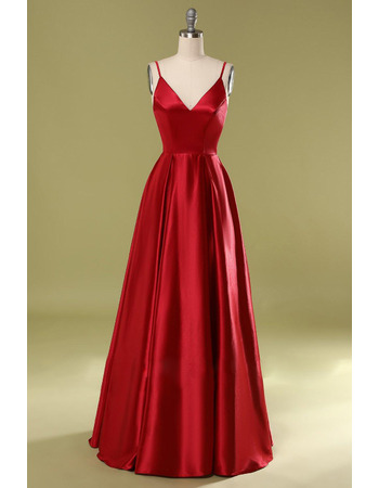 Simple Spaghetti Straps Satin Evening Dresses with Pleated Skirt