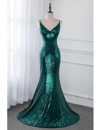 Twinkle Spaghetti Straps Sequin Evening Dresses with Cross-Back