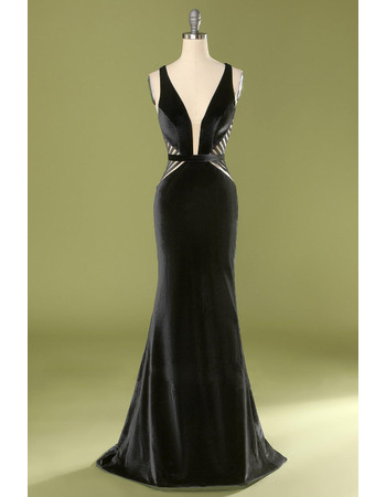 Sexy Deep V-Neck Satin Evening Dresses with Banded Detail