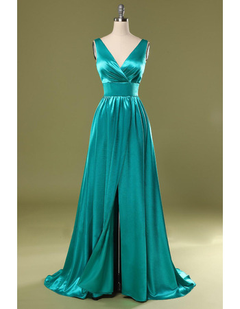 Simple Double V-Neck Elastic Silk Like Satin Evening Dresses with Pleated Detail