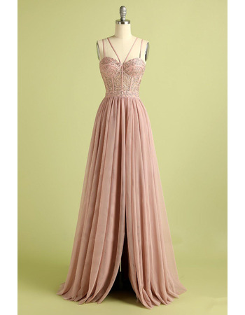 Beautiful Beading Appliques Bodice Chiffon Evening Dresses with Split Front