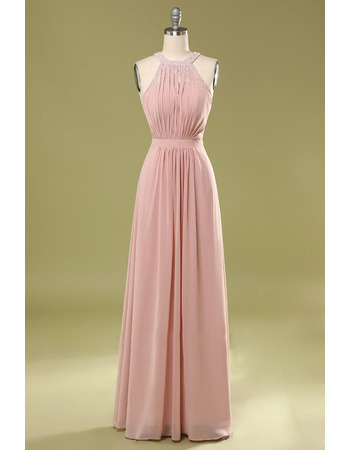 Beautiful Beaded Round/Scoop Neckline Chiffon Evening Dresses with Cross-Back
