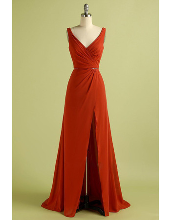 Beautiful Double V-Neckline Chiffon Evening Dresses with Beading-adorned Waist