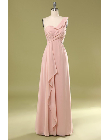 Beautiful One Shoulder Pleated Chiffon Evening Dresses with Cascading Ruffle Along Side