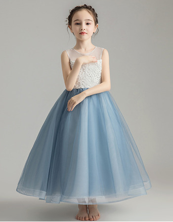 Amazing A-Line Round Neckline Tea Length Little Girls Party Dress with Tulle Skirt