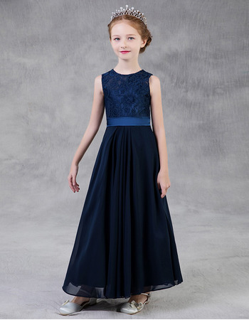 Affordable A-Line Round Neckline Long Chiffon Little Girls Party Dress with Lace Bodice