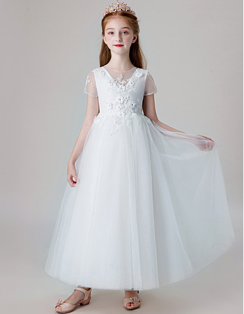 Beautiful Appliques A-Line Ankle Length Tulle Flower Girl Dresses with Short Sleeves