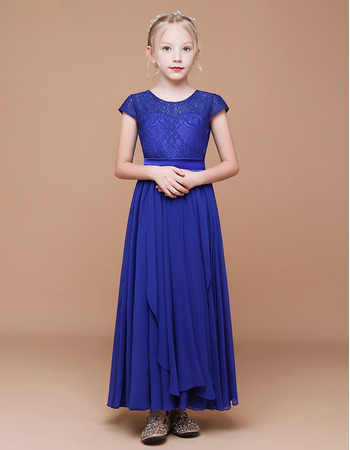 A-Line Short Sleeves Ankle Length Chiffon Flower Girl Dress with with Front Ruffles