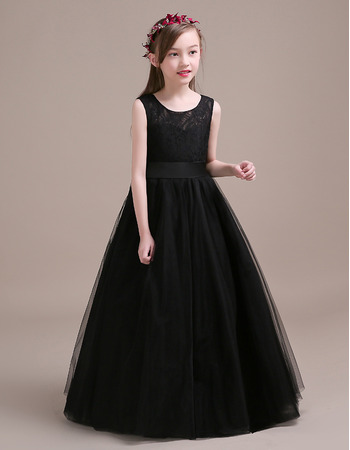 Affordable A-Line Floor Length Tulle Black Little Girls Party Dress with Lace Bodice