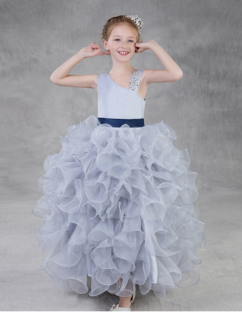 Amazing Asymmetrical Neckline Ball Gown Little Girls Party Dress with Ruffles Galore Skirt