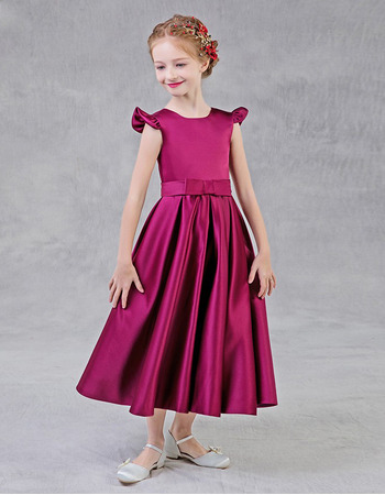 Cute A-Line Tea Length Pleated Satin Flower Girl Dress with Slight Cap Sleeves