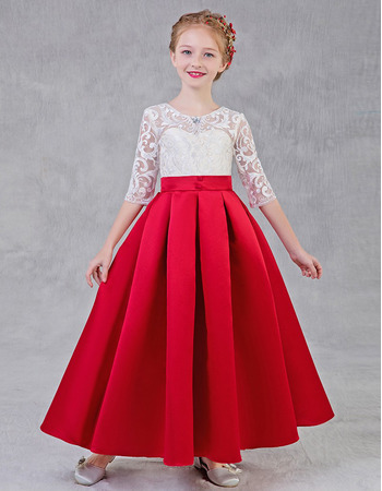 Lovely A-Line Long Length Lace Bodice Satin Flower Girl Dress with Half Sleeves