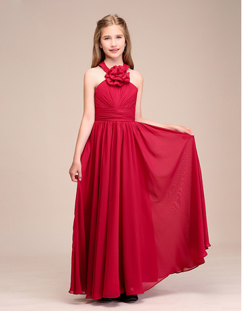 Pretty Halter Full Length Pleated Chiffon Junior Bridesmaid Dress with Hand-made Flowers