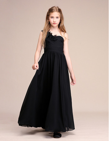 Beautiful Ruffled One Shoulder Pleated Chiffon Junior Bridesmaid Dress