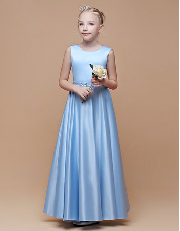Plain A-Line V-back Full Length Satin Junior Bridesmaid Dress