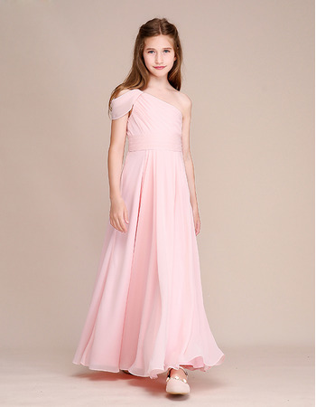 Smiple A-Line Ruched Bodice One Shoulder Chiffon Junior Bridesmaid Dress