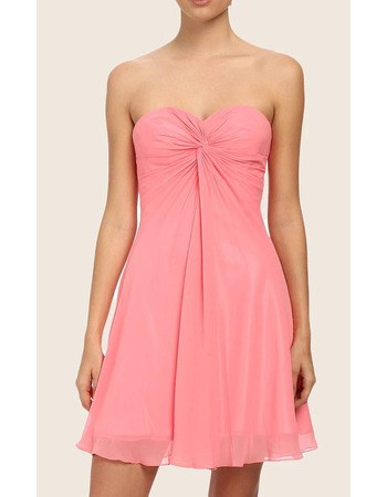 Sexy Strappy Back Sweetheart Chiffon Short Homecoming Dresses with Twist Drape Detail