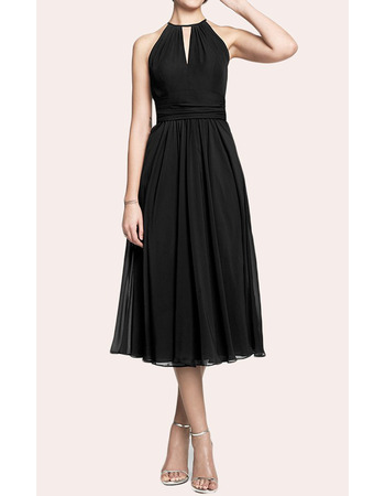 Affordable Keyhole Neck Tea Length Chiffon Black Homecoming Dresses with Open Back