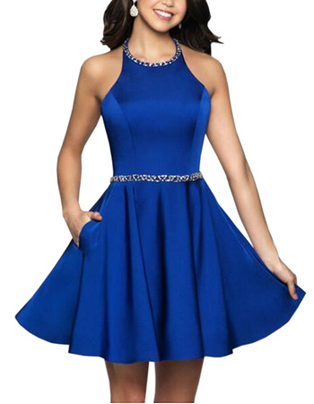 Sexy A-Line Beaded Halter-neck Short Satin Homecoming Dresses with Pockets