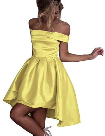 Sexy Simple Off-the-shoulder High-Low Satin Homecoming Dresses