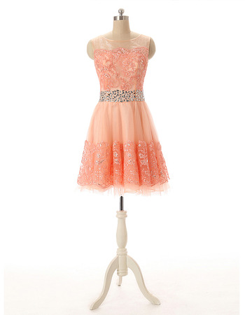 Discount A-Line Short Tulle Homecoming Dresses with Rhinestone Waist