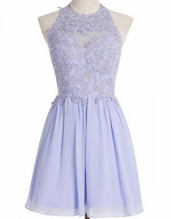 Classy Luxury Beading Appliques Lavender Halter Short Chiffon Homecoming Dresses