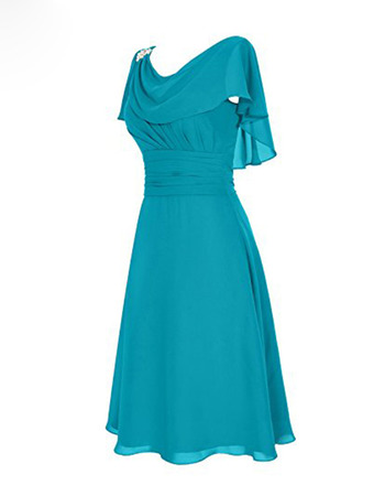 Elegant A-Line Draped Scoop Neckline Knee Length Chiffon Mother Dresses with Slimming Ruching Waist