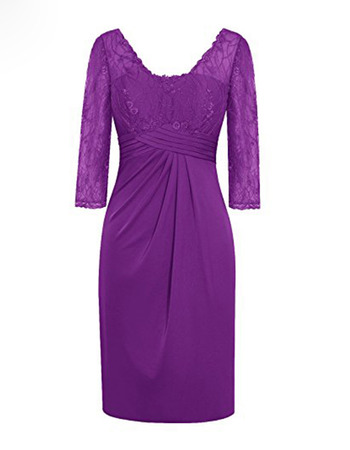Affordable Ruched Detail V-Neck Short Satin Mother Dresses with Lace Bust and 3/4 Long Sleeves