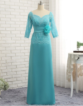 Elegant Floor Length Chiffon Tulle Mother Dresses with 3/4 Long Sleeves