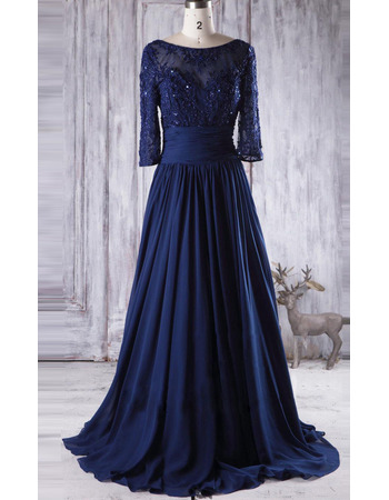 Exquisite Appliques A-Line Pleated Waist and Skirt Chiffon Mother Dresses with 3/4 Long Sleeves
