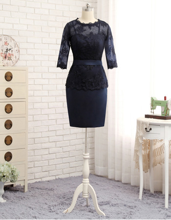 Inexpensive Column Illusion Neckline Short Satin Lace Mother Dresses with 3/4 Long Sleeves