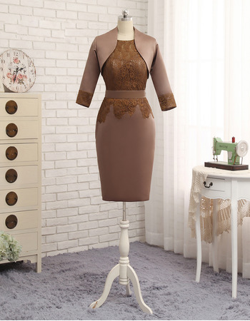 Modest Column Lace Bodice Knee Length Satin Mother Dresses with Jackets