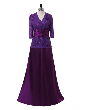 Discount Mock Two-piece Design Chiffon Mother Dress with Lace Bodice and 3/4 Long Sleeves