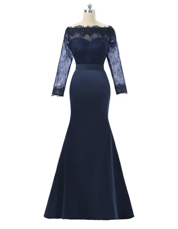 Junoesque Mermaid Lace Bodice Full Length Satin Mother Dress with Long Illusion Sleeves