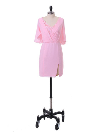 Modest Column V-Neck Short Pink Chiffon Mother Dress with Ruching Trim Capelet
