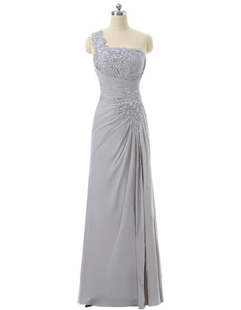 Elegance Beaded Appliques One Shoulder Full Length Chiffon Mother Dress with Ruching