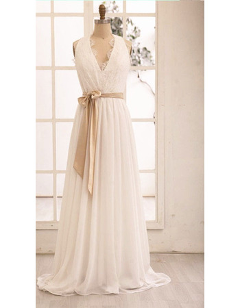 Affordable V-neck Full Length Chiffon Wedding Dresses with Lace Bodice and Open Back