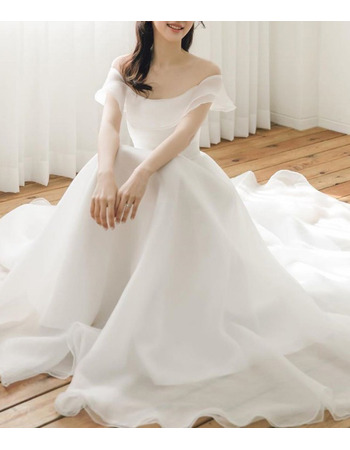 Simple Ivory Off-The-Shoulder Organza Wedding Dresses