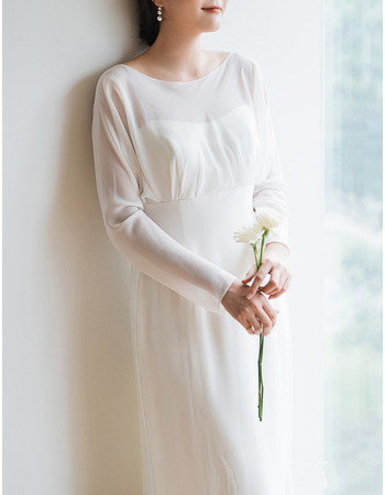 Simple Illusion Neckline V-back Chiffon Wedding Dresses with Long Sleeves
